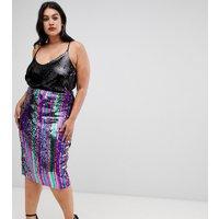 Outrageous Fortune - Plusstorlek - Regnbågsrandig midikjol i bodyconmodell med paljetter - Flerfärgad