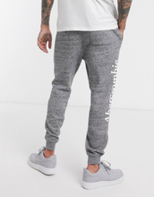 Abercrombie & Fitch icon logo tape cuffed joggers in grey