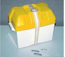 Batteriboks gult lokk, 20x41x20 cm