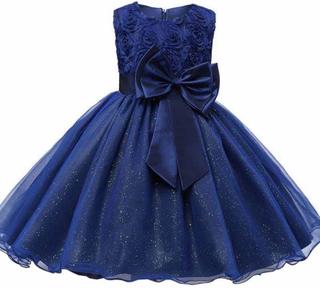 Festklänning Med Rosett Och Blommor - Blå (150) Blue 152