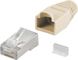 RJ45 kontakt, skärmad, med beige böjskydd, 10-pack