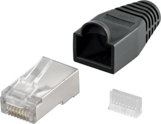 RJ45 kontakt, skärmad, med svart böjskydd, 10-pack