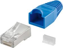 RJ45 kontakt, skärmad, med blått böjskydd, 10-pack