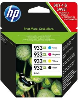 HP 932XL svart bläckpatron/933XL cyan/magenta/gul bläckpatron, original, 4-pack