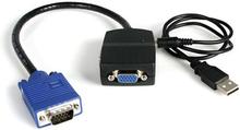VGA-videosplitter med 2 portar - USB-driven