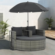vidaXL Trädgårdssoffa 2-sits med dynor & parasoll konstrotting grå