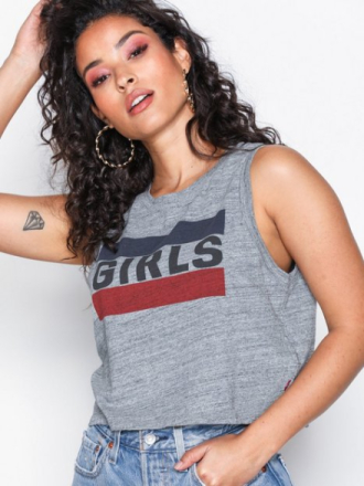 Levis Graphic Crop Tank Girls T Linnen Grey