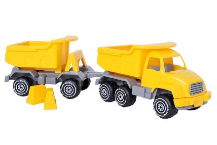 Plasto-kuorma-auto + -peräkärry, 52 cm, keltainen