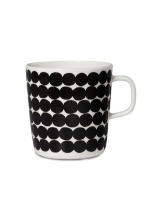 Räsymatto-muki, vet. 4 dl, musta-valkoinen