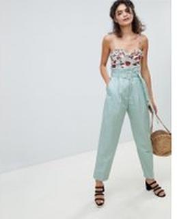 Mango - Blå peg-byxor med hög midja - Blå
