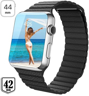 Apple Watch Series 4/3/2/1 Premium Læder Spænderem - 44mm, 42mm - Sort
