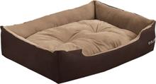 [en.casa]® Kissan- tai koiransänky - käännettävällä tyynyllä -Oxford-kangasta / PP-puuvillaa - 65 x 48 x 18 cm [M] - tummanruskea / vaaleanruskea
