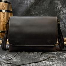 Men's Genuine Leather Shoulder Bag Crazy Horse Leather Crossbody Bag High Quality Schoolbags Leather Messenger Bag for men