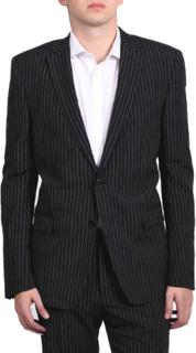 Versace Collection mäns Pinstripe tvådelade viskos kostym svart/vit