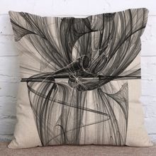 Tintenmalerei Baumwolle Leinen Kissenbezug Quadratische Dekoration Kissenbezug