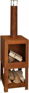Esschert Design udendørs pejs med brændestativ rustfarvet FF298