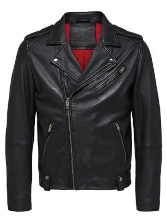 SELECTED Biker - Leather Jacket Men Black