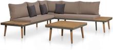vidaXL Loungegrupp för trädgården med dynor 4 delar akaciaträ brun