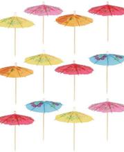 12 stk Mat / Coctailpinner med Paraplyer 10 cm