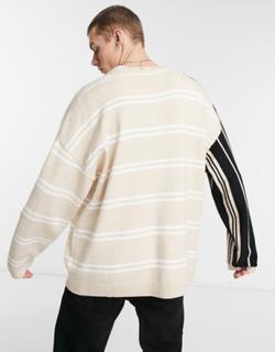 Reclaimed Vintage Inspired - Neutral beige todelt strikcardigan