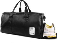 Stor Weekendbag med Skofack i Svart Läder Skinn Träningsväska