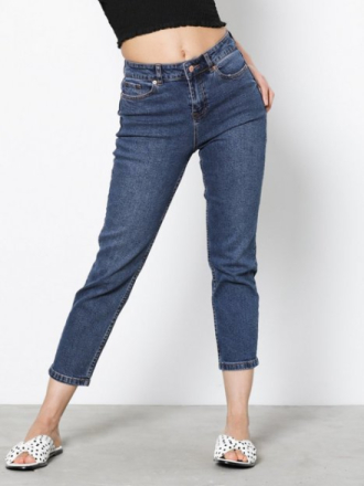 New Look Rinse Wash Cropped Straight Leg Jeans Blue