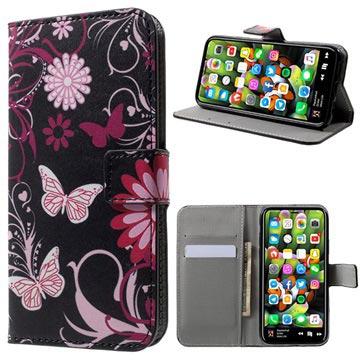 Style Series iPhone X / iPhone XS Flip Taske med Plads til Kort - Sommerfugle / Blomster