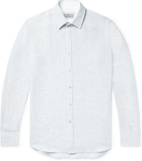 Slim-fit Slub Linen Shirt - Gray green