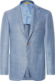 Blue Kei Slim-fit Mélange Wool, Silk, Linen-blend Blazer - Blue