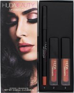 Huda Beauty Trendsetter & Bombshell Lip Contour Gift Set 2 x 1.9ml Liquid Lipsticks + 1.2g Lip Liner