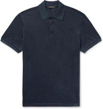 Slim-fit Cotton-piqué Polo Shirt - Navy