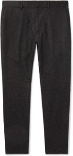 Dark-grey Tapered Wool-blend Herringbone Trousers - Charcoal