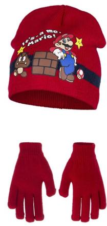 Super Mario lue & hansker (Rød)