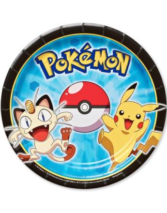 8 stk Små Papptallerkener 18 cm - Pikachu og Pokémon-Venner