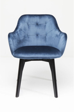 KARE DESIGN Stol med armlæn Lady Velvet Stitch Royal - Petroleumsblå
