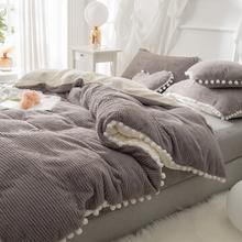 4 Stück Berber Fleece Doppelseite Dehair Angora Kristall Samt Bettwäsche Set Winter Queen King Bettbezug Bettlaken