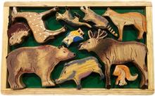 Rampussel nordiska vilda djur massivt trä