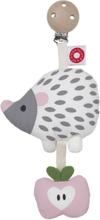 Barnvagnshängare Tinka white hedgehog clip rattle