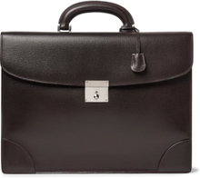 Cross-grain Leather Briefcase - Dark brown
