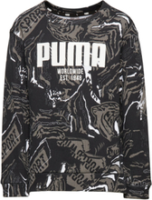 Alpha Aop Crew Fl B Sweat-shirt Tröja Svart PUMA