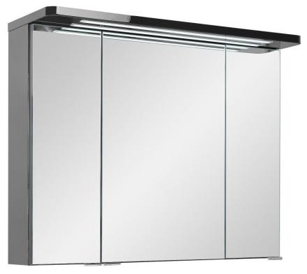 Speilskap Grete 80 cm til baderom i svart høyglans folie inkl. LED lys. FERDIG MONTERT