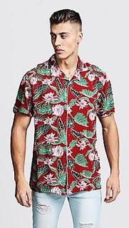Leaf Print Short Sleeve Revere Viscose Shirt