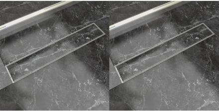 vidaXL Avlång golvbrunn 2 st rostfritt stål 630x140 mm
