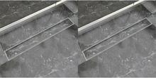 vidaXL Avlång golvbrunn 2 st rostfritt stål 830x140 mm