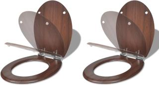 vidaXL toiletsæder med soft close-låg 2 stk. MDF brun