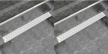 vidaXL Avlång golvbrunn 2 st rak rostfritt stål 1030x140 mm