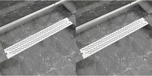vidaXL Avlång golvbrunn 2 st vågig rostfritt stål 830x140 mm