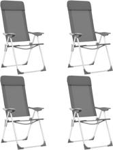 vidaXL foldbare campingstole 4 stk. aluminium grå