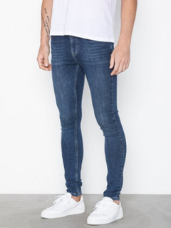 Topman Mid Wash Super Spray On Jeans Jeans Blue