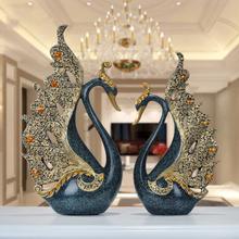 2-teiliges europäisches Luxusharz Swan Ornament Home Decoration Crafts TV-Schrank Büro Statuen